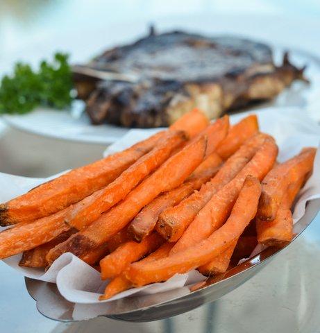 sweet potato fries straight cut, skin on