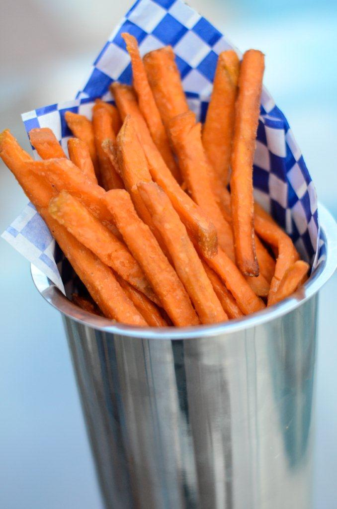 sweet potato fries thin cut with skin on